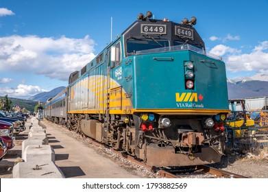 Jasper, Alberta - August 3, 2020: A VIA Rail train located at the train station in Jasper.