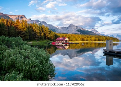 Jasper, Alberta, Canada - July 25, 2018: View of boat house on Maligne Lake at sunset in Jasper National Park, Canadian Rockies, Alberta, Canada.
