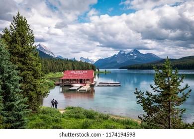 Jasper, Alberta, Canada - July 25, 2018: View of Maligne Lake in Jasper National Park during summer in the Canadian Rockies in Alberta, Canada.