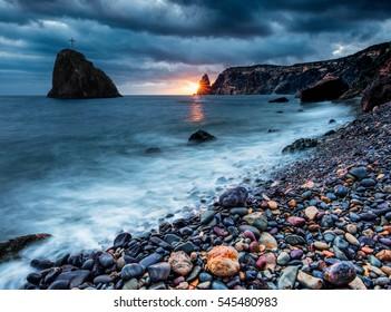 Jasper beach. Crimea, Russia.