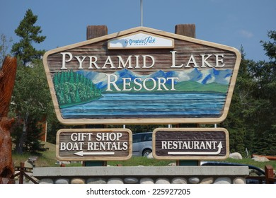 JASPER, CANADA - AUGUST 14, 2014: Pyramid Lake sign in Jasper National Park in Alberta Canada