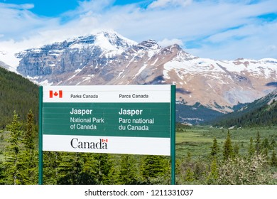 JASPER, CANADA - JULY 4, 2018: Welcome sign at the entrance to Jasper National Park, Alberta, Canada