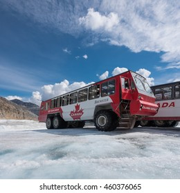 Jasper, Canda. June 28th, 2016. Ice explorer buses take tourists out to view the Athabasca Glacier and Columbia Icefield