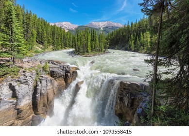 Jasper National Park, Canada. Sunwapta falls with small island in the middle of the river.