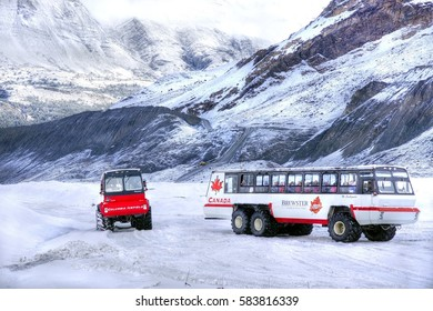 JASPER N.P - CANADA - 9/11/2016 ; A massive Ice explorer with tourists is driving to the Athabasca Glacier at the columbia icefield field at Jasper National Park