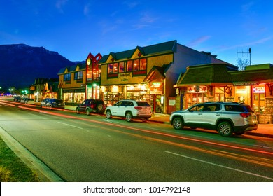 Jasper,Canada Oct 4,2017 : evening on streets of Jasper town ,Canadian Rocky Mountains is a popular tourist destination.