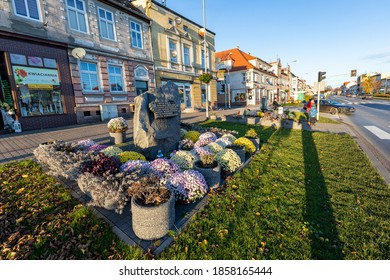 Jastrowie, wielkopolskie / Poland - November, 20, 2020: Remember the time when the city was liberated from German occupation by the Polish army. Stone commemorating the conquest of the Pomeranian.