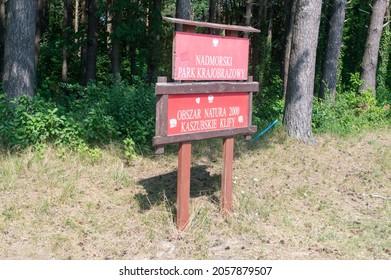 Jastrzebia Gora, Poland - July 21, 2021: Information sign about Natura 2000. Entrance to the special nature protection area Natura 2000 Kaszubskie Klify.