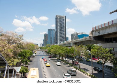Jatujak - Bangkok, Thailand 12 April 2017 : Photo of the normal traffic when there are no business hours, during normal weekdays, daytime traffic is usually at a minimum in Jatujak - Bangkok