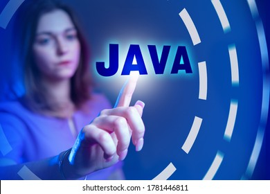 Java development. Java logo next to a programmer girl. Concept - work of javascript by developer. Girl chooses a programming language. Career Javascript Developer. Creating programs using Java.