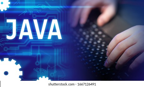 Java. Hands of the programmer. Using Java technology create a site. Programming with javascript. Creation of software. Java logo on computer background. Circuit board conductors on a blue background