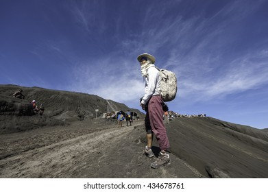 Java, Indonesia -JUNE 4, 2016: Tourists Travel to Mount Bromo, Mount Bromo is an active volcano and part of the Tengger massif, in East Java, Indonesia. At 2,329 metres.