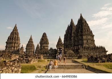 JAVA, INDONESIA - SEPTEMBER 6, 2016: Prambanan temple is the largest Hindu temple site in Indonesia. It is characterized by its tall towering. the temple attracts many visitors and tourists