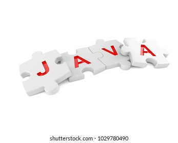Java jigsaw concept isolated on white background. 3d illustration