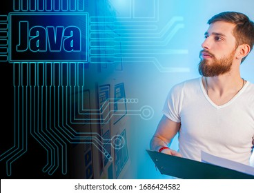 Java programmer. A man looks at the Java logo. Website development. Writing a program. Concept - a person recalls the programming language. Concept - Java Developer Search. Junior Developer