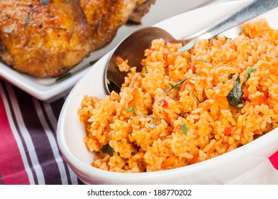 java rice with crispy herbed chicken