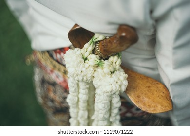 Javanese ceremonial knife kris in javanese wedding. Kris jawa.