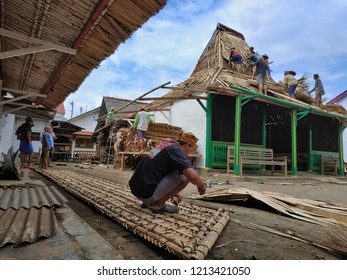 Javanese people collaborate in building houses, Java, Indonesia, 26th October 2018