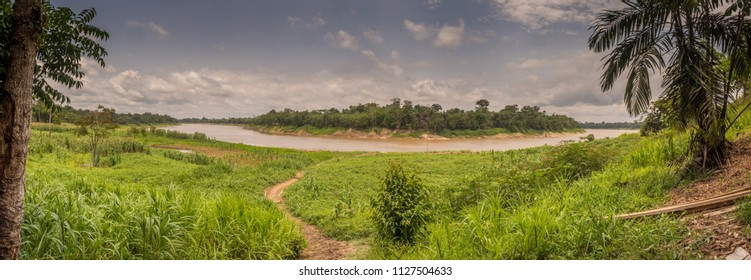 Javari River, the tributary of the Amazon River, Amazonia.Selva on the border of Brazil and Peru. South America.