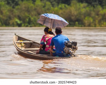 Javary River, Brazil Dec- 2017: Water transport in the Amazon rainforests, the green hell of the Amazon. The Yavari River Valley in Selva, Brazil. Amazonia. Javari River or Yavarí River. South America