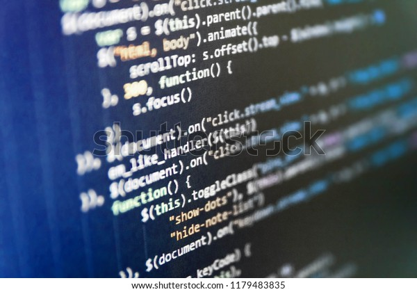 Javascript Code Text Editor Big Data Stock Photo (Edit Now
