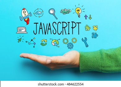 JavaScript concept with hand on blue background