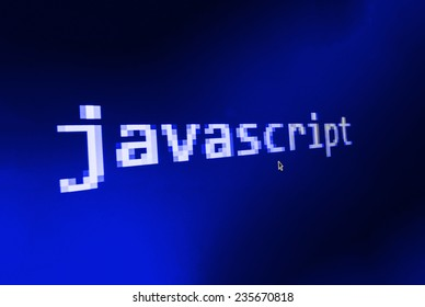Javascript ( JS )  big title on computer screen and mouse cursor and mouse pointer. Blue background color. Vignette light and dark shadow dramatic effect.  (MORE SIMILAR IN MY GALLERY)
