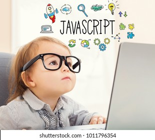 JavaScript text with toddler girl using her laptop