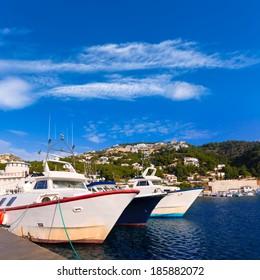 Javea Xabia fisherboats in port at Mediterranean Alicante of Spain