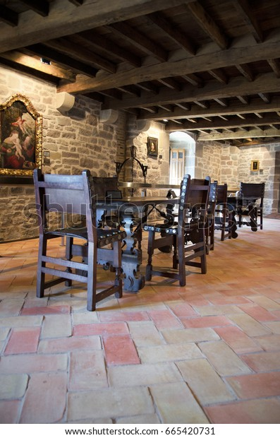 Javier, Spain - April 4, 2015: Interior of Javier medieval Castle on April 4, 2015 in Navarre, Spain.