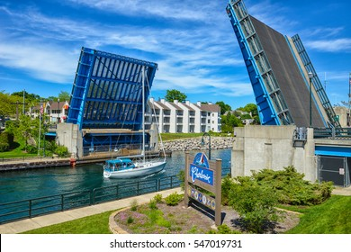 The jaw bridge in downtown Charlevoix that allows boat passage between Lake Michigan and Lake Charlevoix