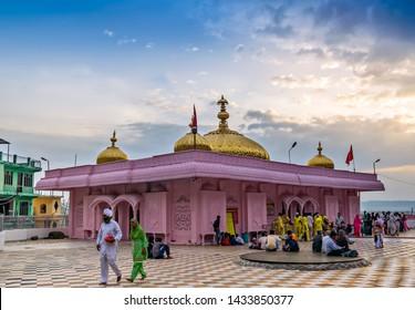 Jawalamukhi, Himachal Pradesh,  India - April 16th, 2019 : Jawalamukhi is a famous Shakti peetha town in Kangra district in the Indian state of Himachal Pradesh.