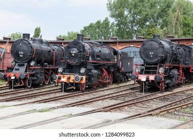 JAWORZYNA SLASKA, POLAND-APRIL 26, 2018: Exhibits of the railway museum in Jaworzyna Slaska in Poland.