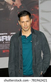 "Jay Hernandez attends the Netflix ""Bright"" premiere on Dec. 13, 2017 at the Regency Village Theatre in Los Angeles, CA."
