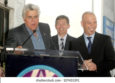 Jay Leno with Leron Gubler and Howie Mandel  at the Hollywood Walk of Fame Ceremony honoring Howie Mandel. Hollywood Boulevard, Hollywood, CA. 09-04-08