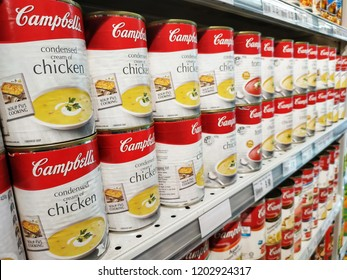 Jaya Grocer, Malaysia - September, 2018: Campbell's chicken soup product sold at Jaya Grocer.