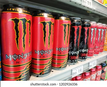 Jaya Grocer, Malaysia - September, 2018: Monster Energy drink products sold at Jaya Grocer.