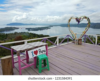 Jayapura, Indonesia (05/08/2018) : Beautiful landscape of Youtefa Bay in Jayapura, Papua seen from Bukit Jokowi (Jokowi Hill)