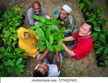 Jayapura, Papua, Indonesia - March, 2020: Local people with different background working together to develop agricultural practices for sustainable livelihoods in Papua. It's Unity in Diversity.