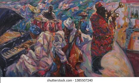 "jazz band, oil painting, artist Roman Nogin, series ""Sounds of Jazz.""  jazz club, retro, vintage, singer, celebrities, classical jazz, musicians,"
