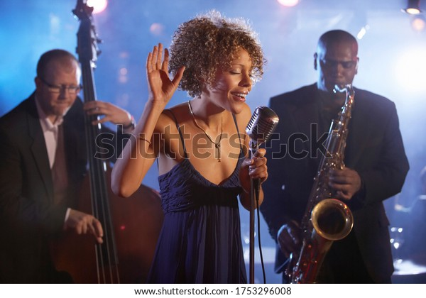 Jazz band on stage group portrait