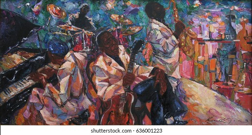 """jazz club, oil painting, artist Roman Nogin, series """"Sounds of Jazz."""" ,looking for partnerships with artdillers sale original - contact facebook"""