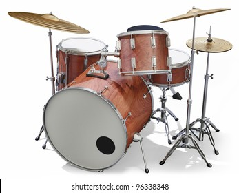 A Jazz drumkit on a white background