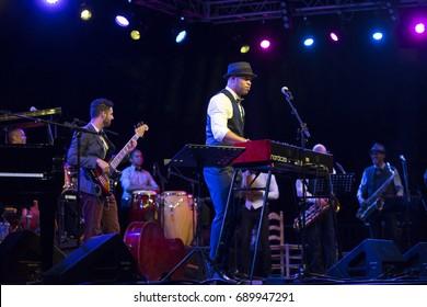 JAZZ EN LA COSTA, SPAIN - JULY 19 , 2017: Roberto Fonseca, piano and singer, at 30 International Jazz Festival of Almunecar, Spain.