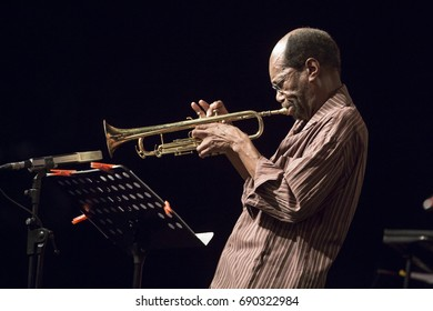 JAZZ EN LA COSTA, SPAIN - JULY 20 , 2017: Charles Tolliver, trumpet, at 30 International Jazz Festival of Almunecar, Spain.