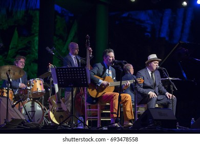 JAZZ EN LA COSTA, SPAIN - JULY 17 , 2017:John Pizzarelli, voice and guitar, and Daniel Jobim voice, at 30 International Jazz Festival of Almunecar, Spain.