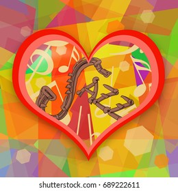 Jazz music abstract background with saxophone and love heart
