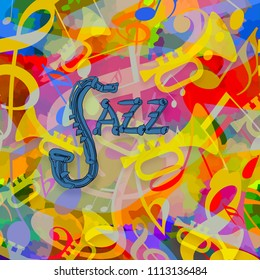 Jazz music colorful art background with saxophone, trumpets and musical notes