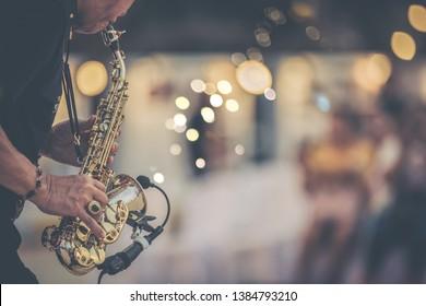 jazz musician playing outdoor concert.Jazz mood concept