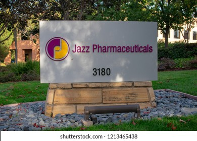Jazz Pharmaceuticals sign and logo. Jazz Pharmaceuticals is an Ireland-based biopharmaceutical company - Palo Alto, California, USA - October 26, 2018
